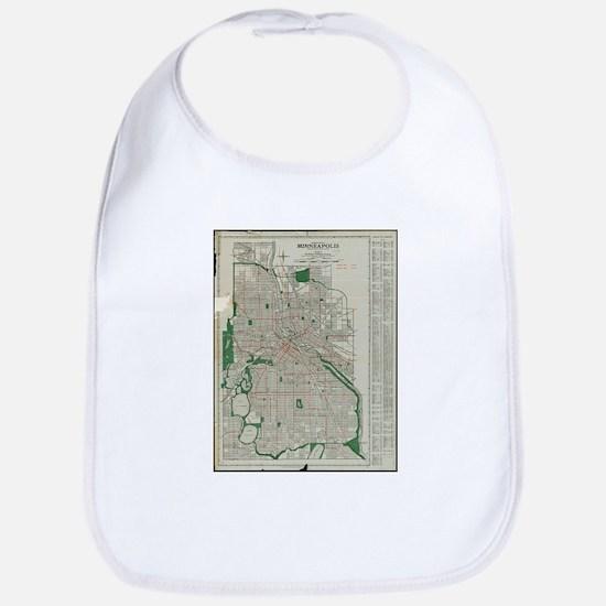 Vintage Map of Minneapolis Minnesota (192 Baby Bib