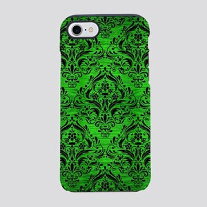 DAMASK1 BLACK MARBLE & GREEN B iPhone 7 Tough Case