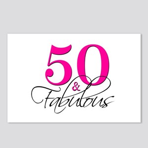 50 and Fabulous Pink Black Postcards (Package of 8