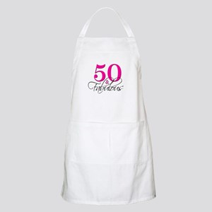50 and Fabulous Pink Black Apron