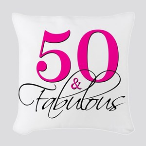 50 and Fabulous Pink Black Woven Throw Pillow