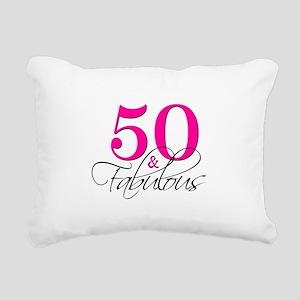 50 and Fabulous Pink Black Rectangular Canvas Pill