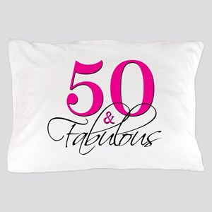 50 and Fabulous Pink Black Pillow Case