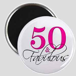 50 and Fabulous Pink Black Magnets