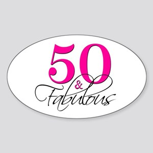 50 and Fabulous Pink Black Sticker