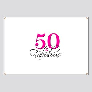 50 and Fabulous Pink Black Banner