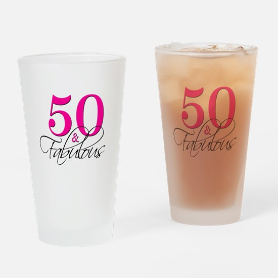 50 and Fabulous Pink Black Drinking Glass