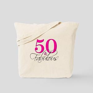 50 and Fabulous Pink Black Tote Bag