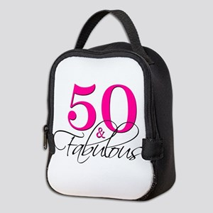 50 and Fabulous Pink Black Neoprene Lunch Bag