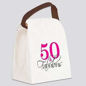 50 and Fabulous Pink Black Canvas Lunch Bag