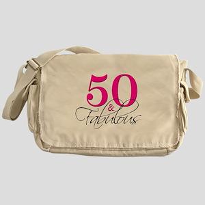50 and Fabulous Pink Black Messenger Bag