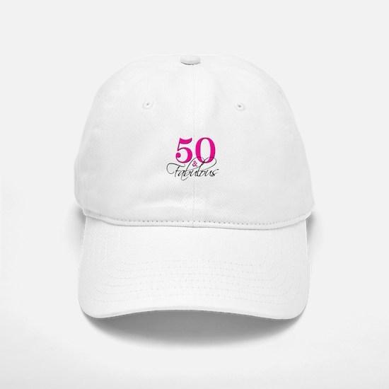 50 and Fabulous Pink Black Baseball Baseball Baseball Cap