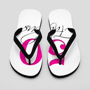 50 and Fabulous Pink Black Flip Flops