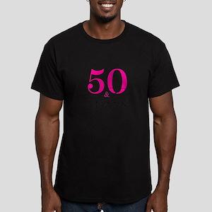 50 and Fabulous Pink Black T-Shirt