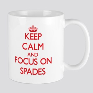Keep Calm and focus on Spades Mugs