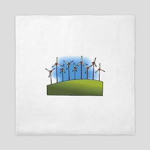 wind farm windmills Queen Duvet