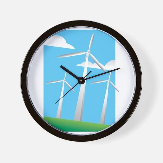 pretty windmills.png Wall Clock