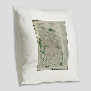 Vintage Map of Minneapolis Min Burlap Throw Pillow