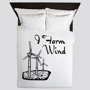 i farm wind with 3 windmills Queen Duvet