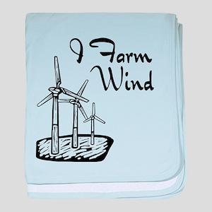 i farm wind with 3 windmills baby blanket