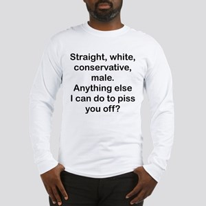 Straight, White...(BL) Long Sleeve T-Shirt