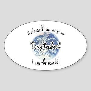 Keeshond World2 Oval Sticker