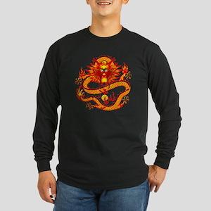 Golden Dragon Long Sleeve Dark T-Shirt