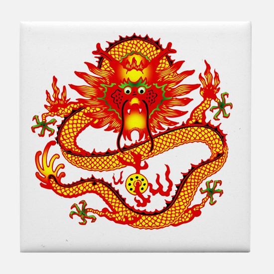Golden Dragon Tile Coaster