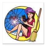 """Witch Spider Moon Square Car Magnet 3"""" X 3&qu"""