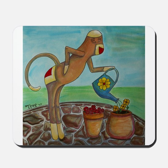 Garden Sock Monkey Mousepad