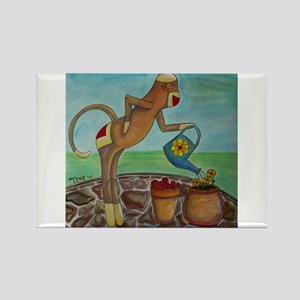 Garden Sock Monkey Rectangle Magnet