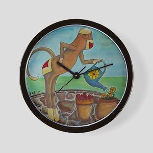 Garden Sock Monkey Wall Clock