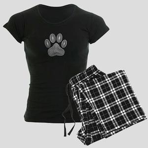 Tribal Dog Paw Print Women's Dark Pajamas