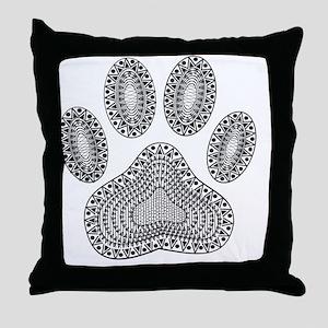 Tribal Dog Paw Print Throw Pillow