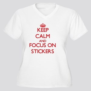 Keep Calm and foc Women's Plus Size V-Neck T-Shirt