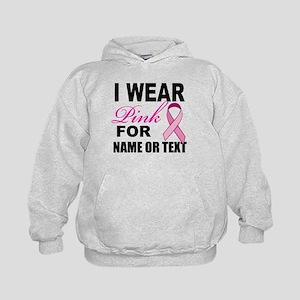 Breast Cancer i wear pink Kids Hoodie