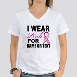 Breast Cancer i wear pink Women's V-Neck T-Shirt