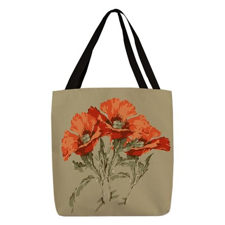 Red Poppies Polyester Tote Bag