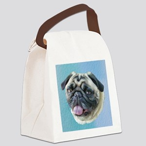 Painted Pug Dog Canvas Lunch Bag