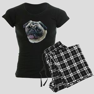 Painted Pug Dog Women's Dark Pajamas