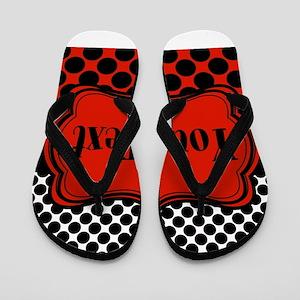 Red Black Polka Dot Personalizable Flip Flops