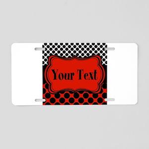 Red Black Polka Dot Personalizable Aluminum Licens