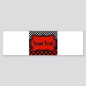 Red Black Polka Dot Personalizable Bumper Sticker