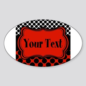 Red Black Polka Dot Personalizable Sticker