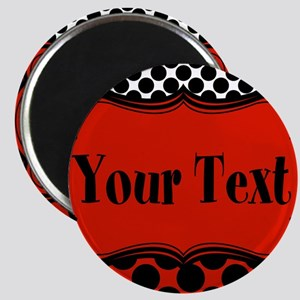 Red Black Polka Dot Personalizable Magnets