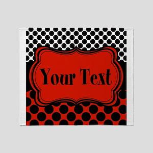 Red Black Polka Dot Personalizable Throw Blanket