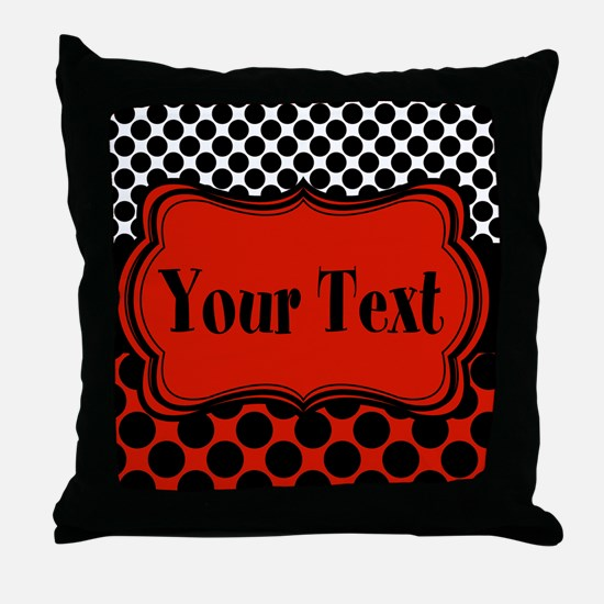 Red Black Polka Dot Personalizable Throw Pillow