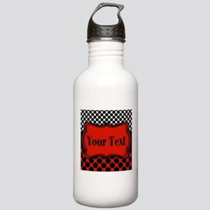 Red Black Polka Dot Personalizable Water Bottle