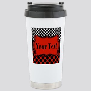 Red Black Polka Dot Personalizable Travel Mug