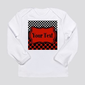 Red Black Polka Dot Personalizable Long Sleeve T-S